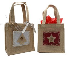 JUTE STAR & TREE TOTE BAG