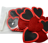 55mm BLACKBOARD HEART-Red/Black