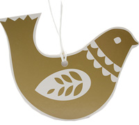 C/B DOVE GIFT TAG-Gold on White board