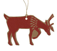 C/B REINDEER GIFT TAG-Red