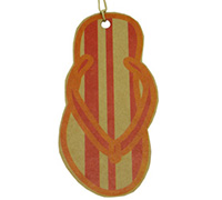 CARDBOARD GIFT TAG-THONG SCAR/TANGERINE on KRAFT
