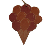 C/B BALLOON GIFT TAG - Hpink/Tan On Natural Kraft