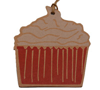 C/B CUPCAKE GIFT TAG-White/Scarlet On Natural Kraft