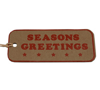 C/B SEASON GREETING GIFT TAG-Red on Natural Kraft
