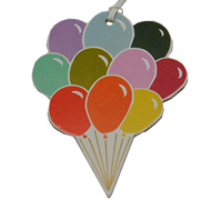 C/B BALLOON GIFT TAG-Multicolour On White Artboard