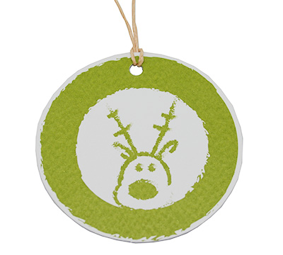 C/B RUDOLF GIFT TAG-Chartreuse on White Kraft