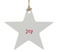 C/B STAR GIFT TAG-Red Joy on White kraft