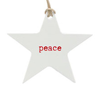 C/B STAR GIFT TAG-Red Peace on White kraft