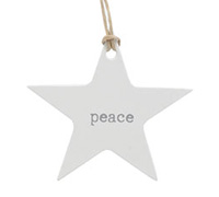 C/B STAR GIFT TAG-Silver Peace on White kraft