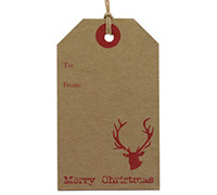 C/B LUGGAGE TAG - Red Reindeer