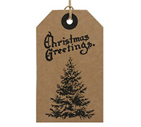 CARDBOARD LUGGAGE TAG-Xmas Tree