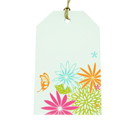 CARDBOARD LUGGAGE TAG-Flower Garden-Bright