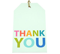 CARDBOARD LUGGAGE TAG-Thank You Bright