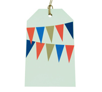 CARDBOARD LUGGAGE TAG-Bunting Red/Blue/Stone