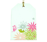 CARDBOARD LUGGAGE TAG-Flower Garden-Pale Pink/Silver