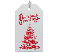 C/B LUGGAGE TAG-Red Xmas Tree on White kraft