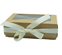 MED GIFT BOX w/WINDOW-Natural