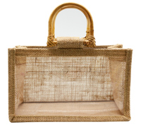 JUTE DOUBLE JAR BAG-Natural/Clear