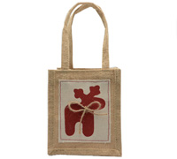 JUTE REINDEER TOTE -Natural/Red Reindeer