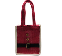 JUTE SANTA TOTE -Red/White/Black