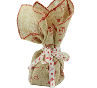 JUTE SQUARE XS with O/L EDGE -Red Xmas Print