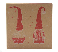 GIFT CARD NORDIC GNOMES-White/Scarlet on Natural Kraft