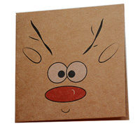 GIFT CARD REINDEER-Black/Scar/White on Natural Kraft