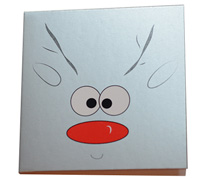 GIFT CARD REINDEER-Silv/Black/Scar on White card