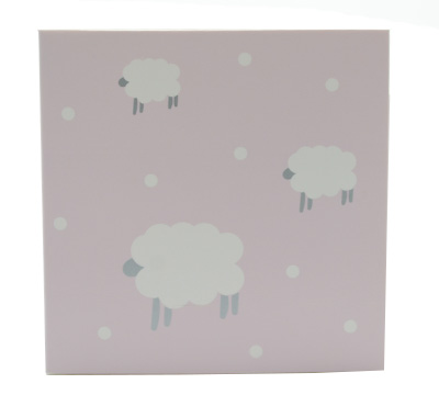 GIFT CARD WOOLLY SHEEP-Lilac/Grey on White card