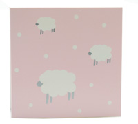 GIFT CARD WOOLLY SHEEP-Pink/Grey on White card