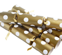 CHRISTMAS CRACKERS w/POLKA DOTS - Gold