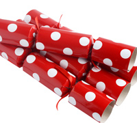 CHRISTMAS CRACKERS w/POLKA DOTS- Red