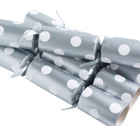 CHRISTMAS CRACKERS w/POLKA DOTS - Silver
