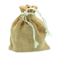 JUTE DRAWSTRING BAG SML-Natural Jute