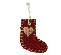 JUTE DECO XMAS BOOT-Red