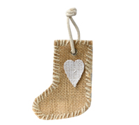 9cm JUTE DECO XMAS BOOT-White
