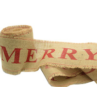 100mm C/E JUTE MERRY CHRISTMAS-Natural/Red