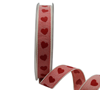 15mm EMBOSSED HEARTS-Red