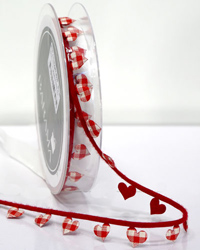 15mm LITTLE HEARTS TRIM-Red/White