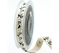 16mm BOTANICAL on COTTON TAPE-Natural/Black