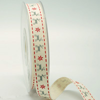 16mm REINDEER NORDIC XMAS-Natural/Red/Silver