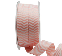 19mm WOVEN V STRIPE-Pink/White