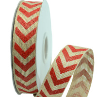 R25mm PRINTED CHEVRON ON JUTE-Natural/Red