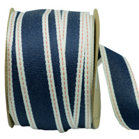 25mm WOVEN EDGE STITCHED-Navy/Red