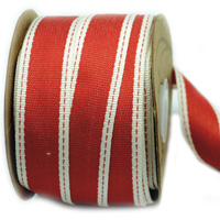 25mm WOVEN EDGE STITCHED-Red