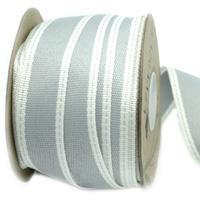 25mm WOVEN EDGE STITCHED-Silver