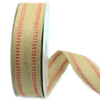 38mm DOUBLE STITCH JUTE-Natural/Red
