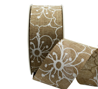 38mm PRINTED FLOWER WEAVE-Taupe/White