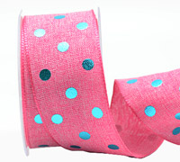 38mm W/E METALLIC POLKA DOT-Hot Pink/Met Blue