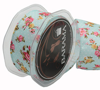 38mm W/VINTAGE FLOWERS-Blue/Rose
